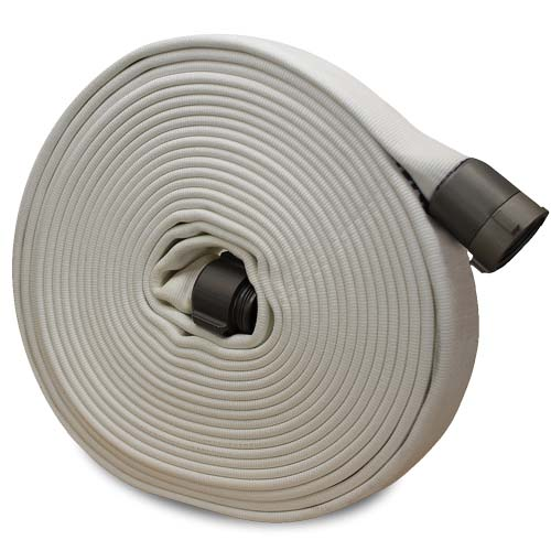 "White 3"" x 50' Double Jacket Fire Hose (Alum 2 1/2"" NH Couplings)"